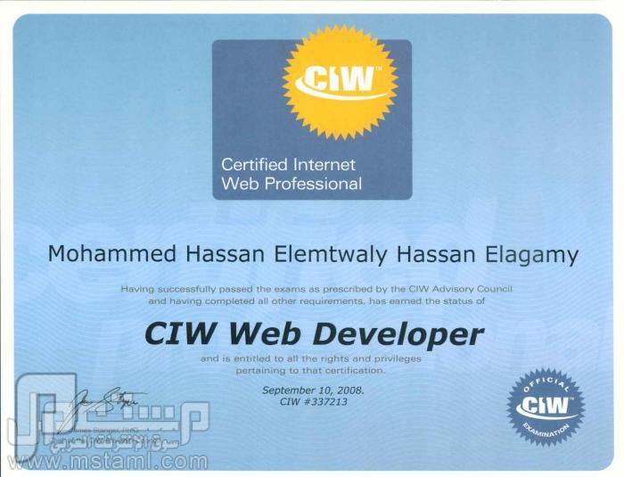 مبرمج مواقع انترنت - معلم حاسب الى -  فنى حاسب الي - مدخل بيانات (خبرة ciw web developer