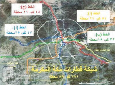 مكة خييير مجلس الوزراء يعتمد تنفيذ «مترو مكة» صورة توضح مخطط شبكة قطارات العاصمة المقدسة.