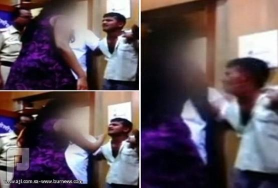 بالفيديو: ضحية اغتصاب هندية تواجه مغتصبها في مركز الشرطة وتصفعه