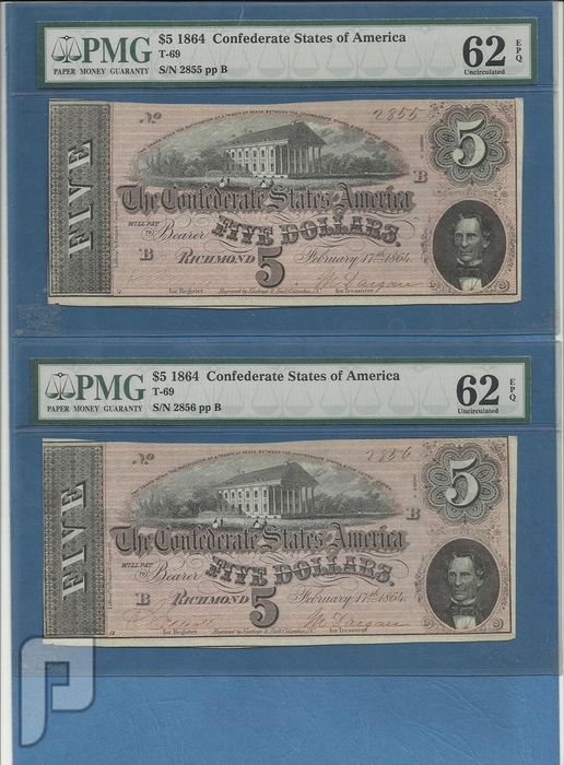 اطقم وعملات ورقية خليجية وعربية وعثمانية وامريكية منها نادرة البند 23---عدد 2 ل 5 دولار امريكي 1864