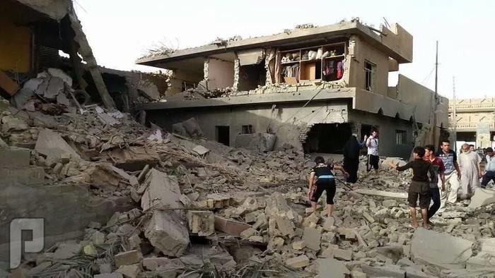 لحضة قصف مدينة الفلوجة بالصور بالبراميل والصواريخ حي الضاباط