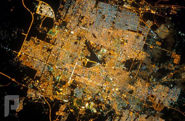 الكرة الأرضية ليلاً مدينة الرياض ليلاً كما نشرتها وكالة ناسا