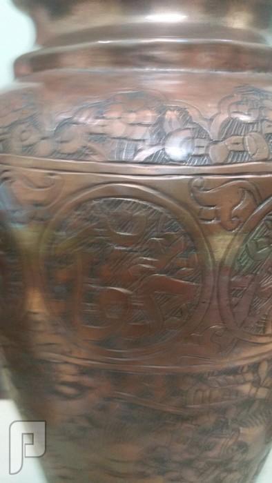 ثلاثة فازات نحاسية شغل يهود سوريا نقش وكتابة يدوية -قديمه وتحفه فنيه