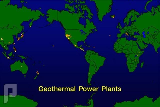 الطاقات البديلة حرارة باطن الارض خريطة تشير الى ما يسمى يحلقة النار اي الاماكن ذات الفعالية البركانية