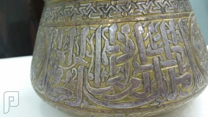 قطع تراثية قد تكون مملوكيه مطعمه بالفضه (فازة وصناديق وقدر) تحف فنيه رائعه