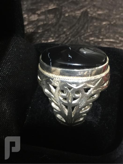 خاتم فضة رخامة معرّقة