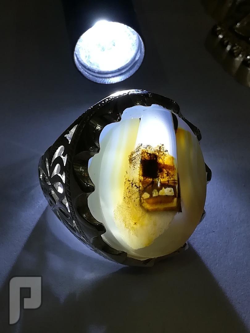 خاتم عقيق يماني طبيعي مصور 100%