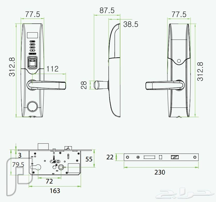 قفل الكترونى للابواب الحديد الخشب الزجاج