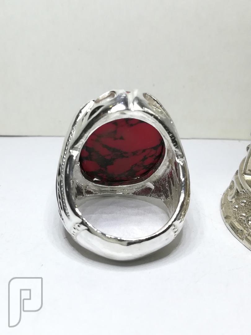 خاتم فيروز افغاني احمر لون نادر
