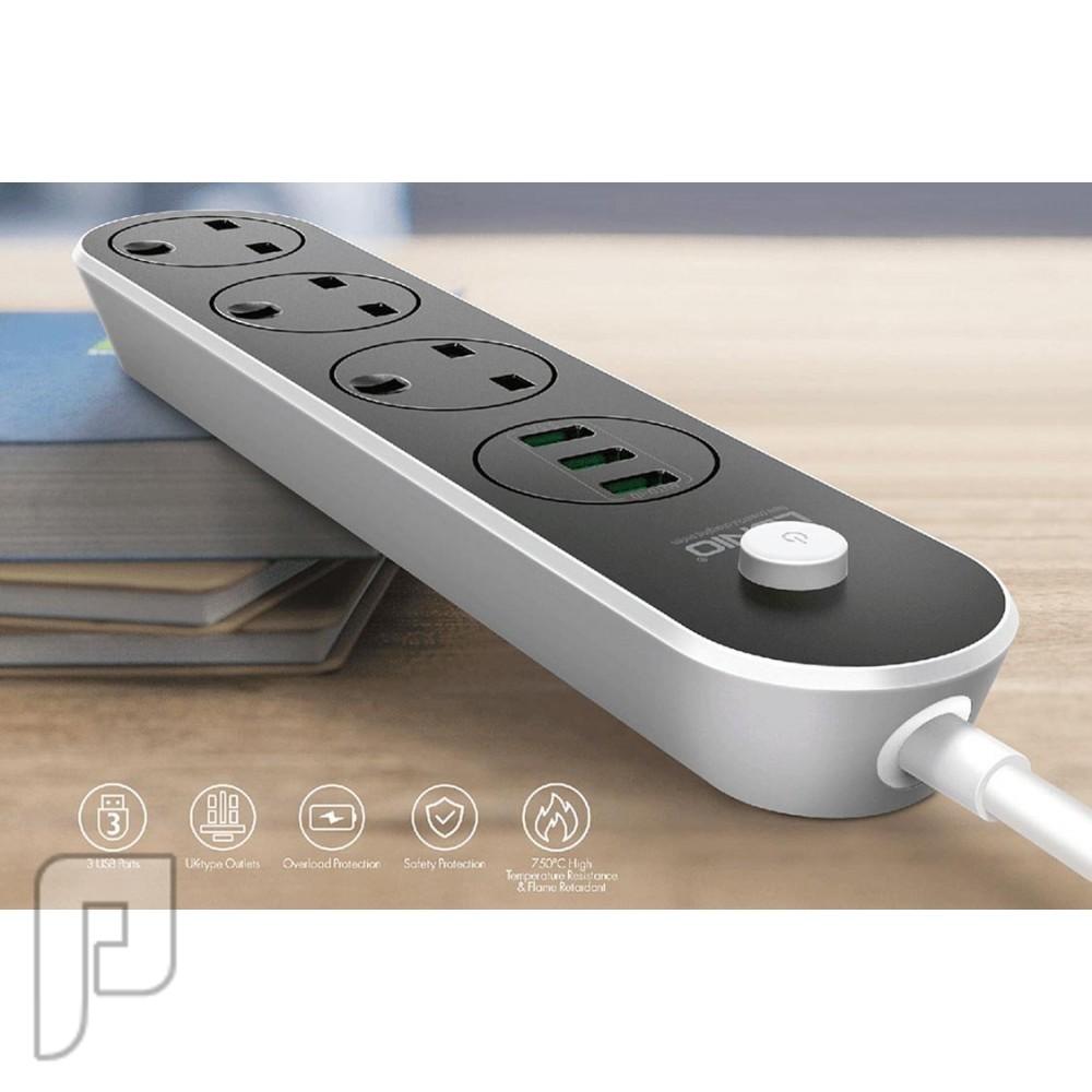 توصيلة كهرباء لدنيو أصليه تحتوي علي 3 مداخل كهرباء و3 مداخل USB