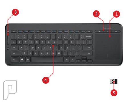كيبورد لوحة مفاتيح و ماوس لمس لاسلكي وايرلس مايكروسوفت ALL-IN-ONE