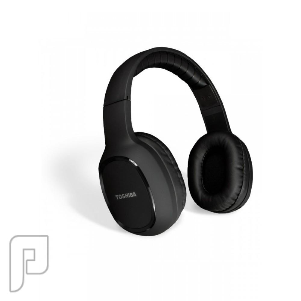 سماعة رأس فوق الأذن لاسلكية بصوت ستيريو تعمل بالبلوتوث توشيبا