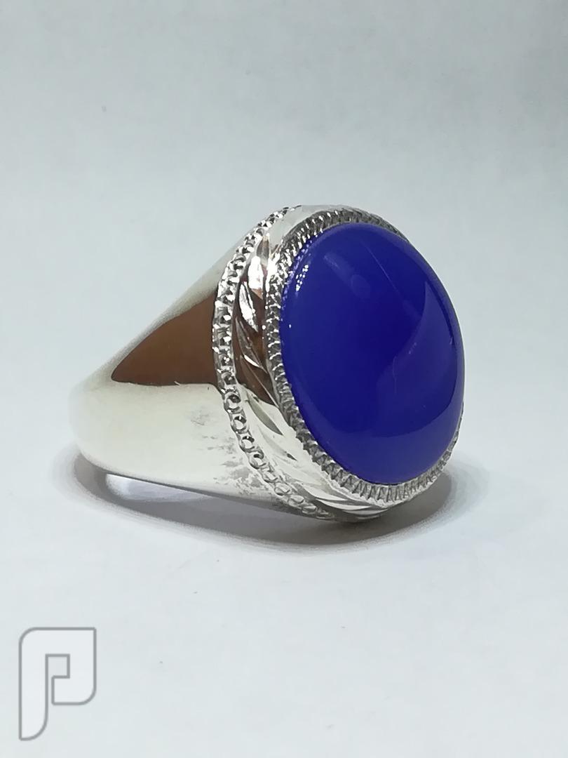 خاتم عقيق يماني ازرق دائري انيق