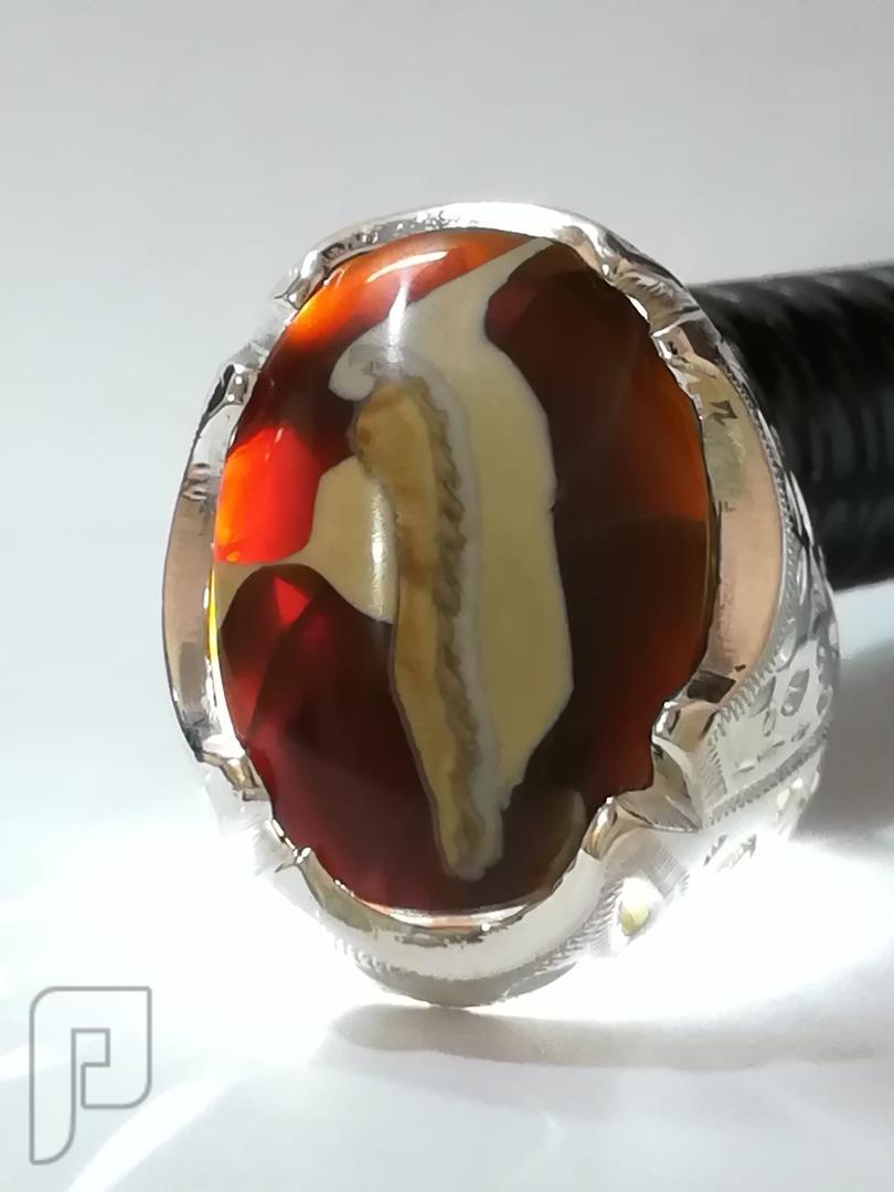 خاتم فانوس السندباد عقيق يماني طبيعي مصور