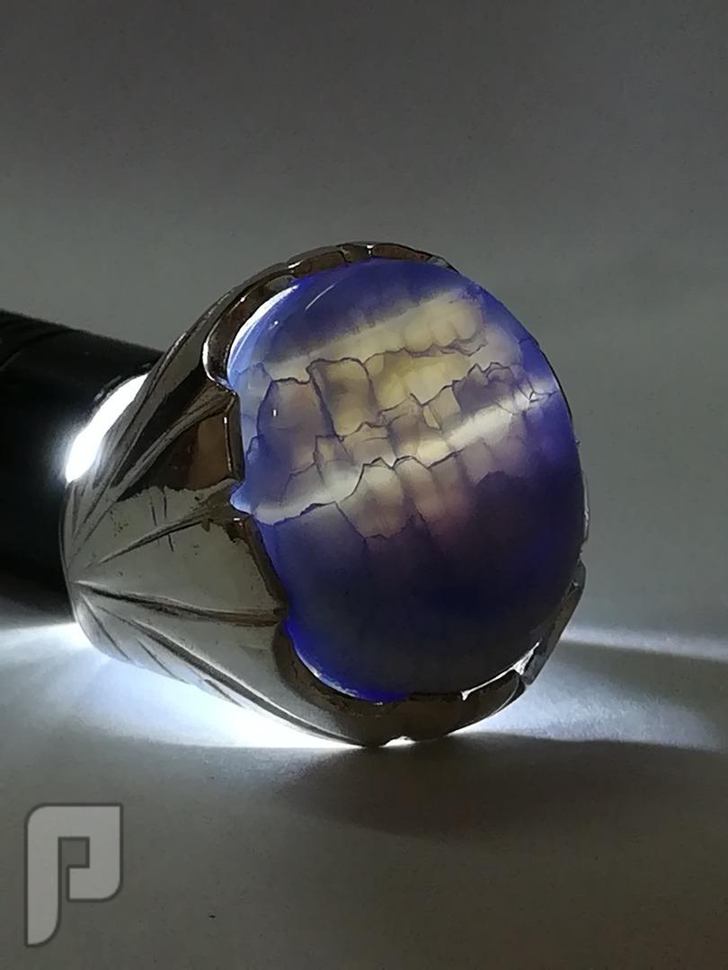 خاتم عقيق يماني طبيعي سماوي مموج مع الابيض