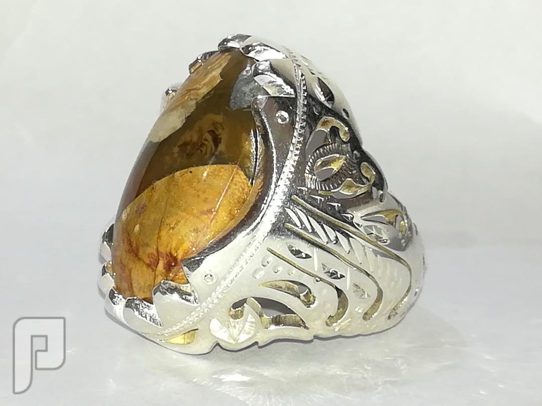 خاتم جزع من نوع اخرر لاتعليق عقيق يماني طبيعي
