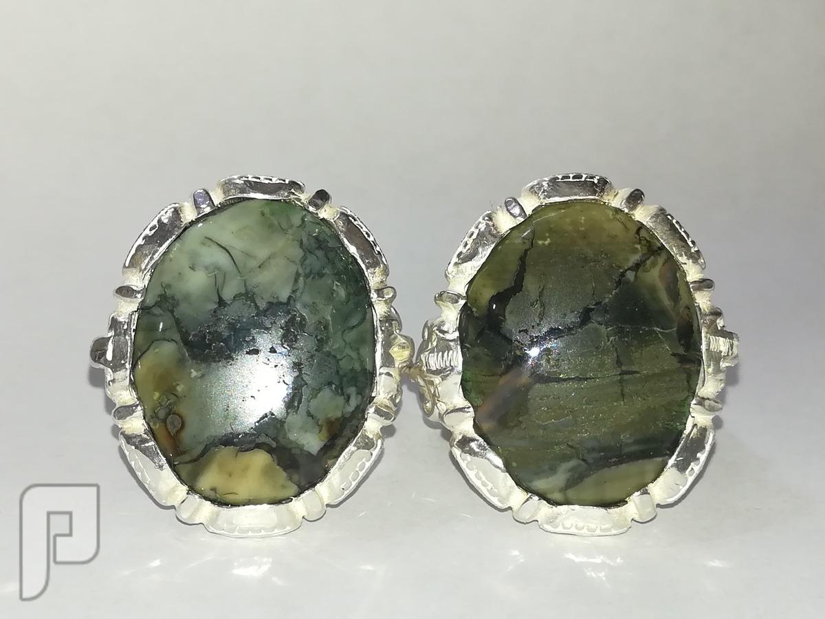 خاتمين عقيق يماني انسي اخضر طبيعي