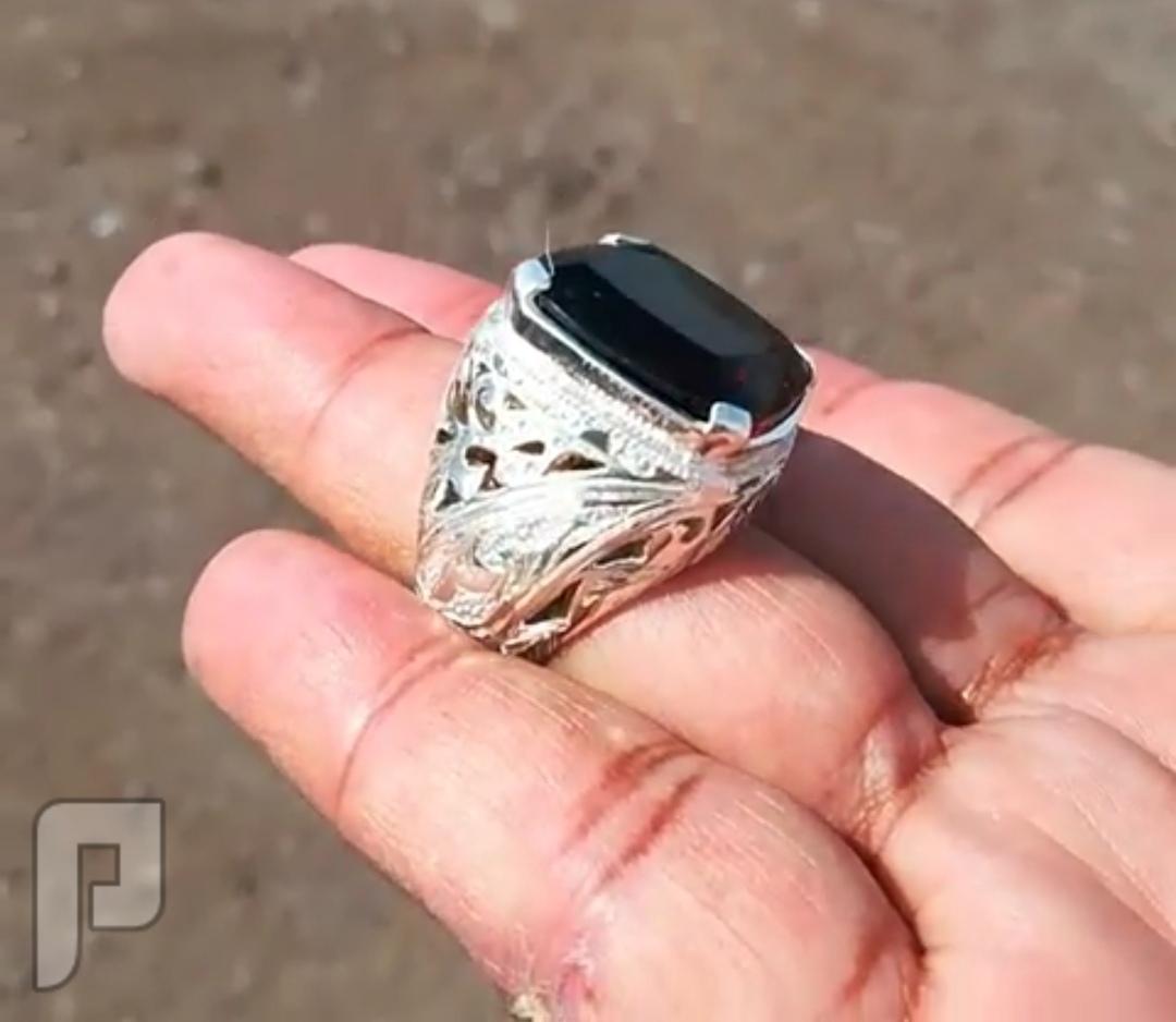 خاتم راقي وفخم بجوهرة امترين طبيعي