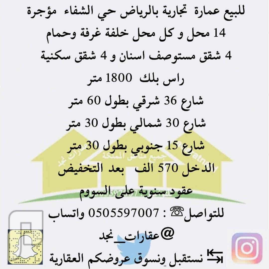 للبيع عمارة تجارية حي الشفاء الرياض