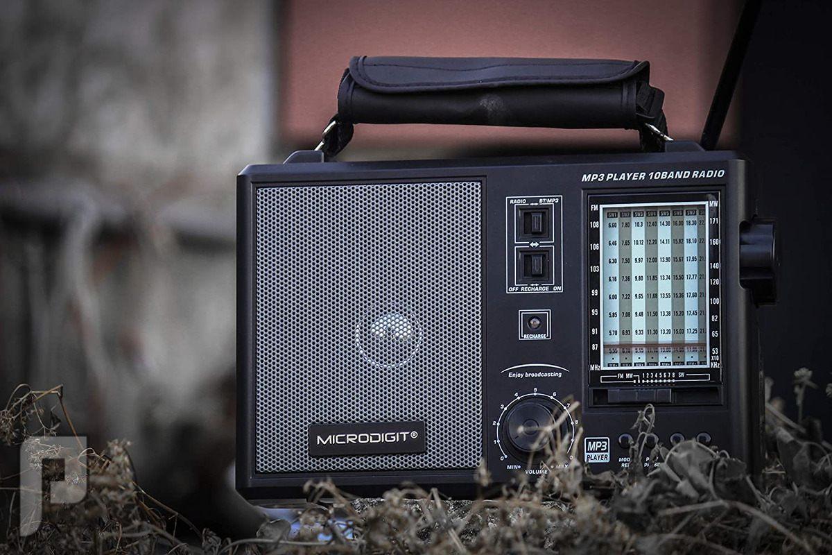 راديو متنقل قابل لشحن يدعم البلوتوث AM + FM