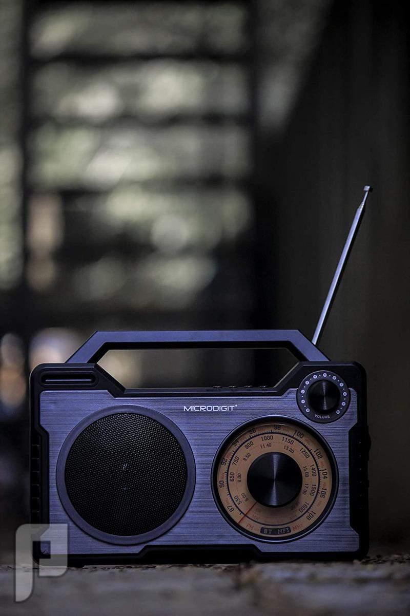 راديو متنقل قابل لشحن يدعم البلوتوث MW + SW + FM