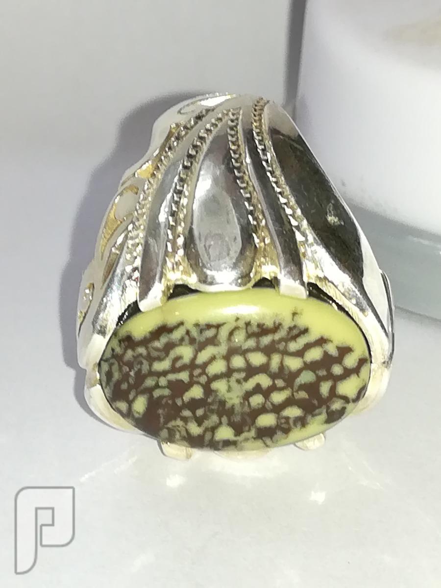 خاتم ملكي مصور عقيق يماني طبيعي لوحه فنيه راقيه