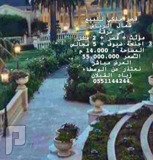 قصر للبيع في شمال الرياض ( حي عرقة + قصر ملكي + 14،000 م + مؤثث ) مباشر