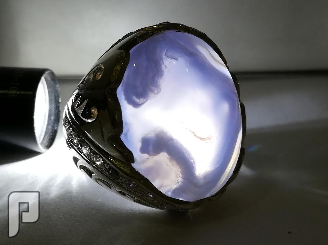 خاتم ملكي عقيق يماني طبيعي لوون نادر