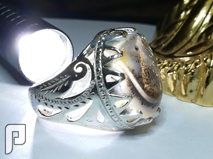 خاتم عقيق يماني طحلبي شفاف