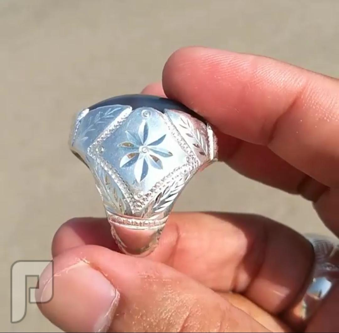 خاتم العقيق اليماني المصور الطبيعي ابو ورده