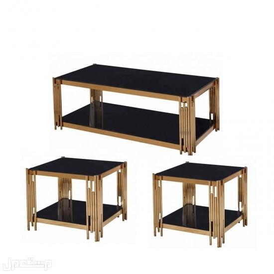 طاولة خدمة 3 قطع لون ذهبي سطح زجاج أسود موديل عصري لخدمتك بشكل سريع ارسل طلبك واتس