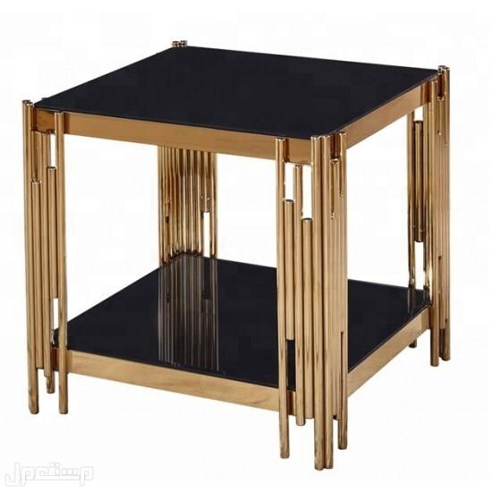 طاولة خدمة 3 قطع لون ذهبي سطح زجاج أسود موديل عصري