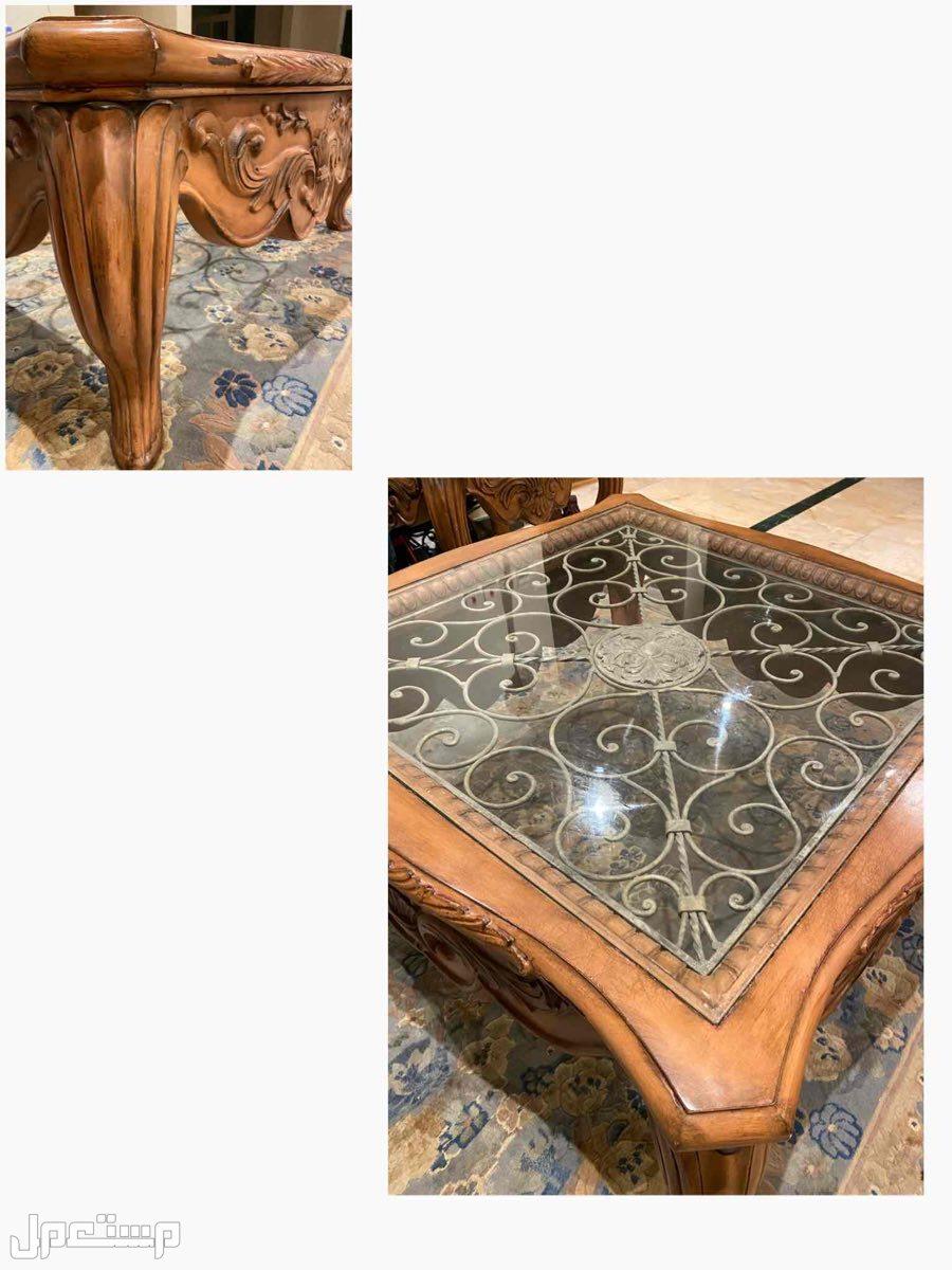 اثاث طاولة كبيرة / مع طاولتين جانبيات خشبية