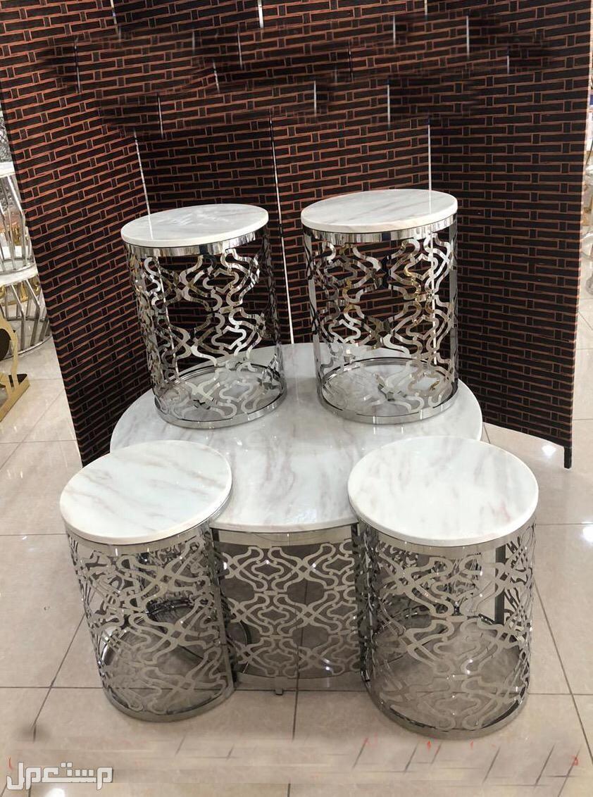 اطقم طاولات  ستيل  الصطحيه رخام