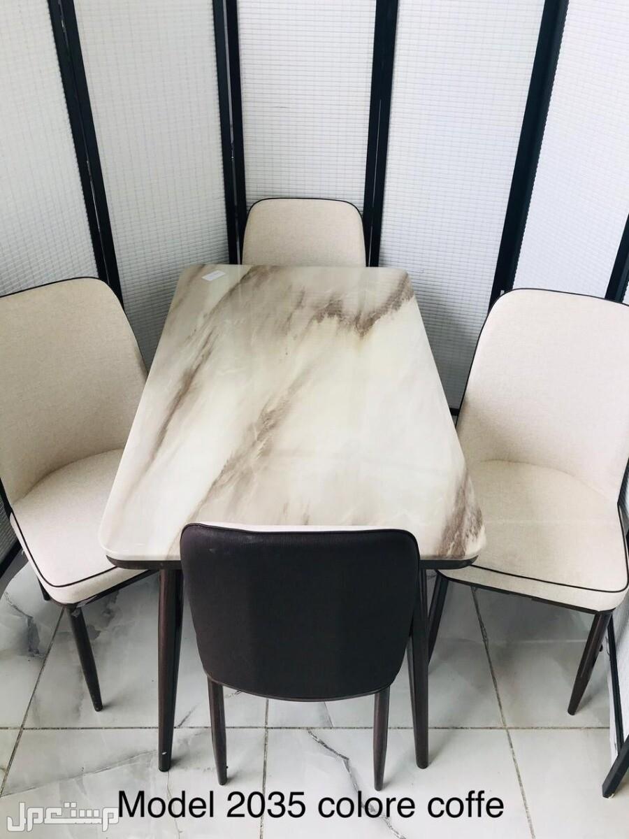 طاولة طعام وجه رخام متوفر 3 الوان