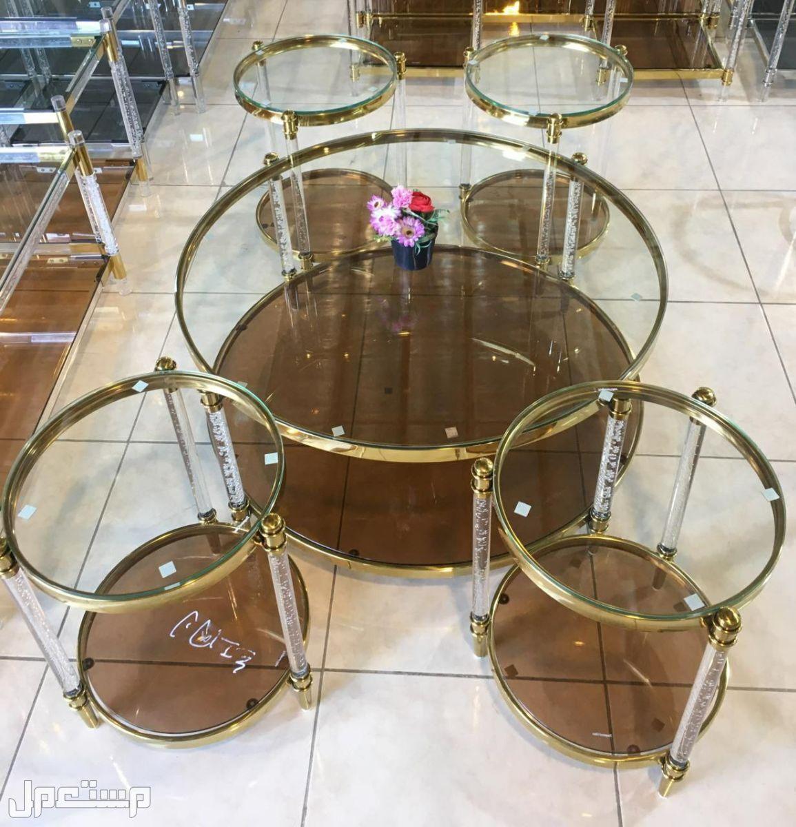 طاولات خدمة استيل اكرليك 4+1 قطع جديدة بالكرتون