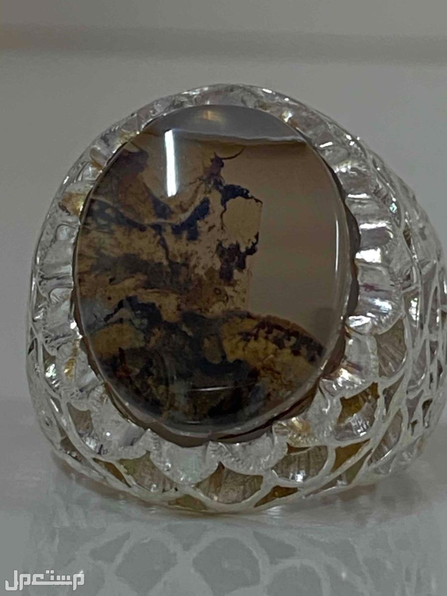 خاتم فخم عقيق يماني شجري مصور طبيعيا