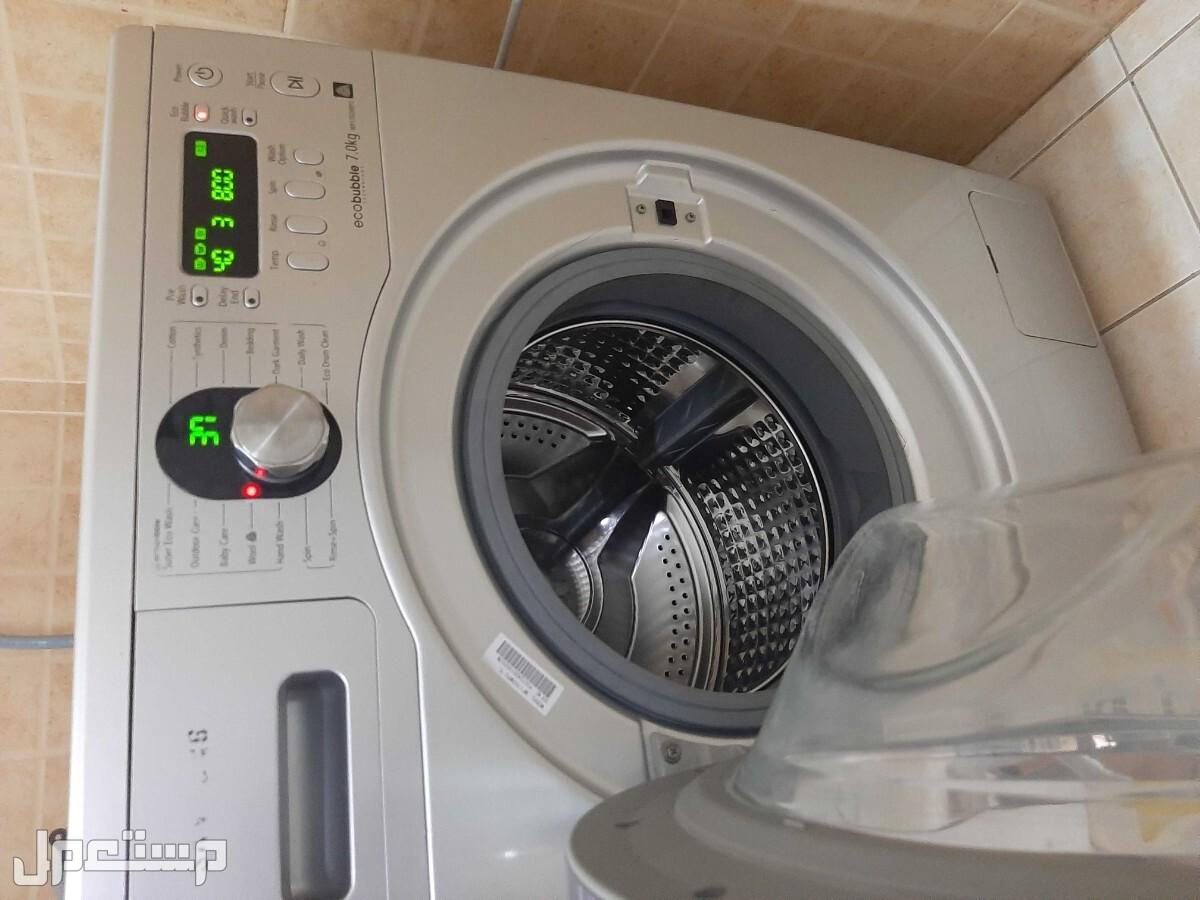 غسالة سامسونج 7 كيلو توفر الماء والكهرباء مع نشارة ملابس رف واحد نظيفة