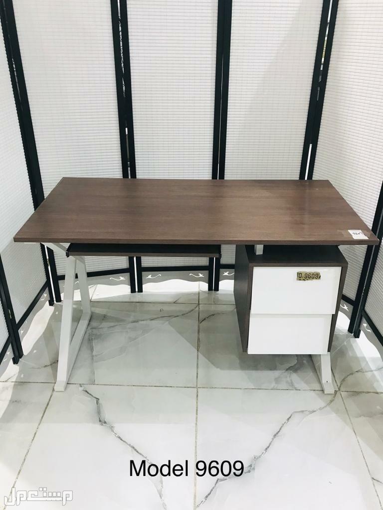 مكتب خشب ميلامين لون خشبي مع ابيض خامة ممتازه
