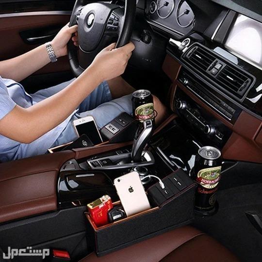حامل أغراض السيارة مع 4 USB للشحن مصنوع من الجلد مع امكانية توصيل 4 جوالات