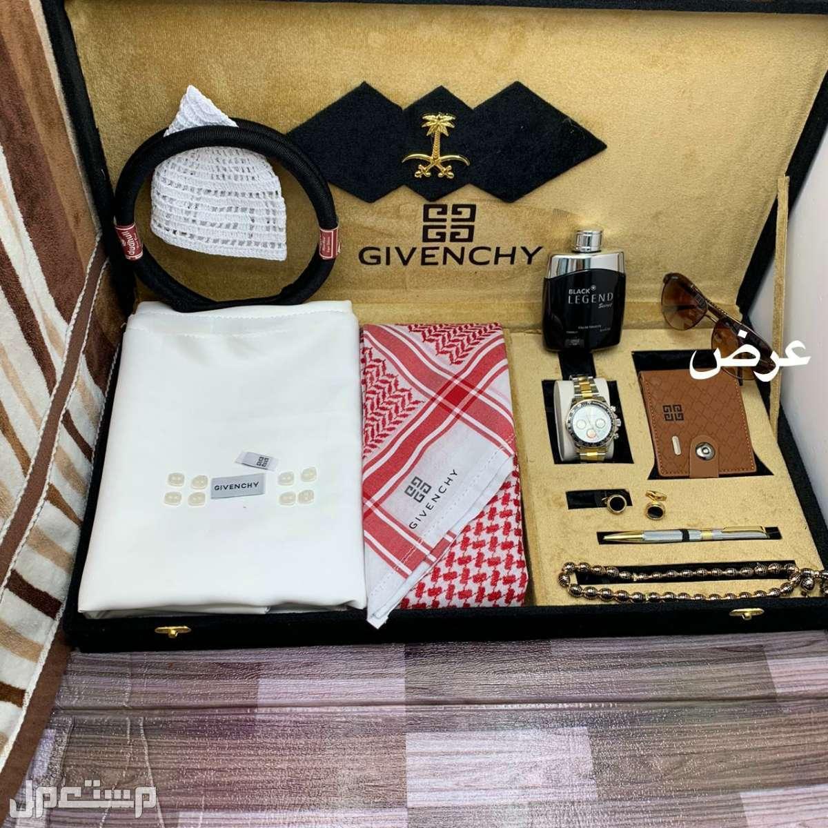 بوكس هدايا العريس بوكس ملكي فاخر اقمشة وشماغات جفنشي