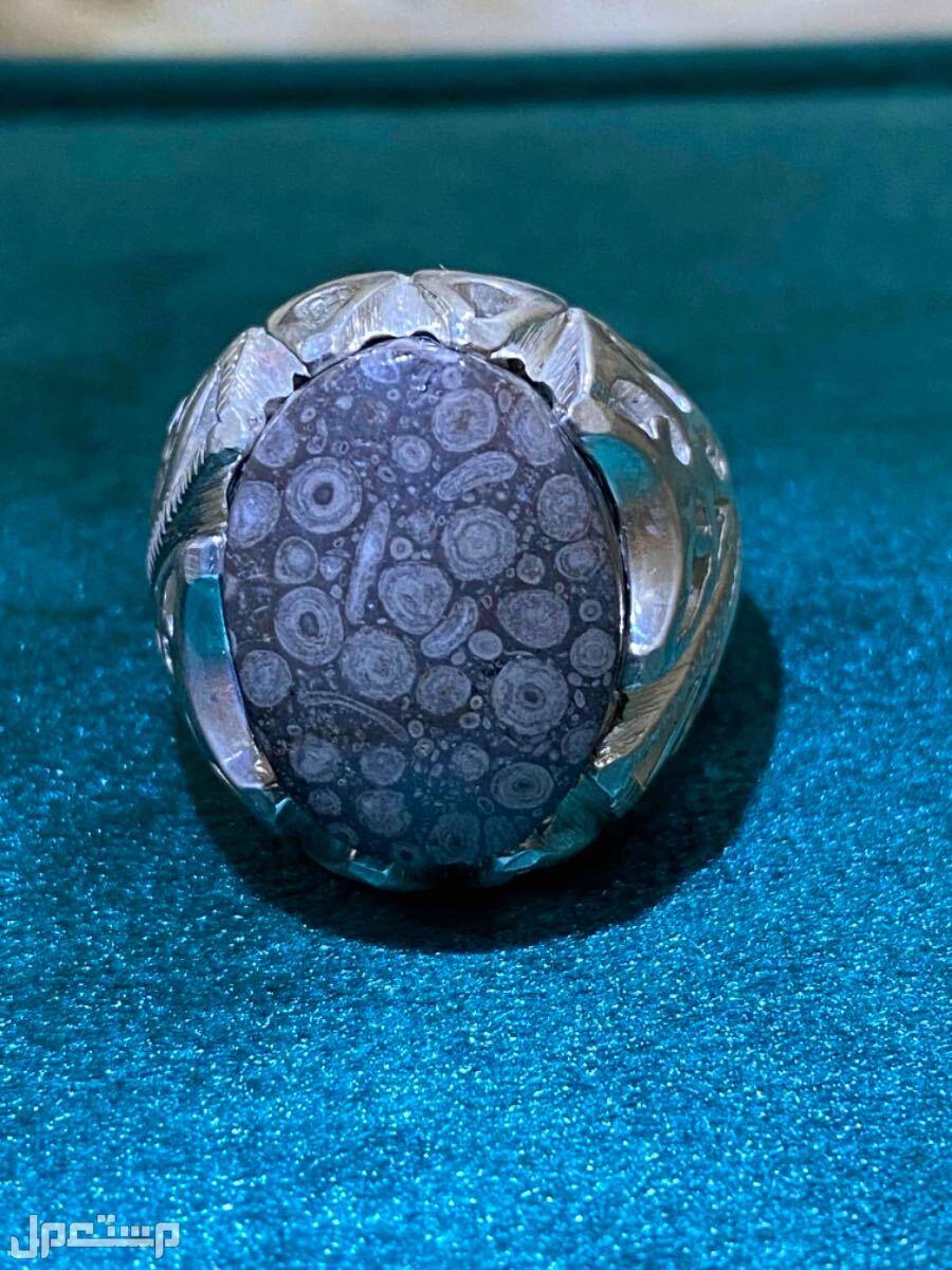 خاتم عقيق يماني احفوري طبيعي