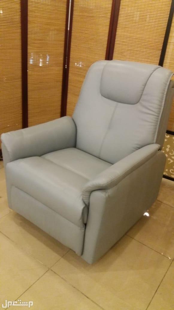 كرسي استرخاء هزاز ودوار جلد خامة ممتازة