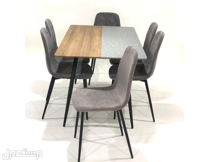 طاوله طعام خشب ارجل حديد 6كراسي الصناعه صيني