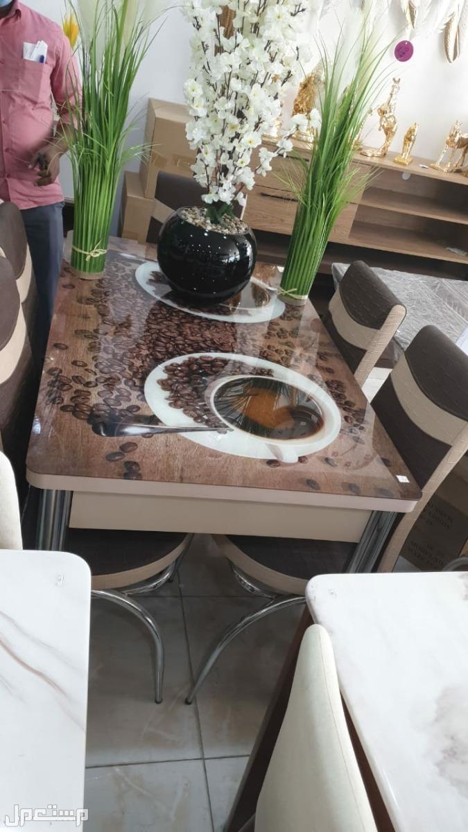 طاوله طعام تركية زجاج مقاوم للحرارة مع 6 كراسي