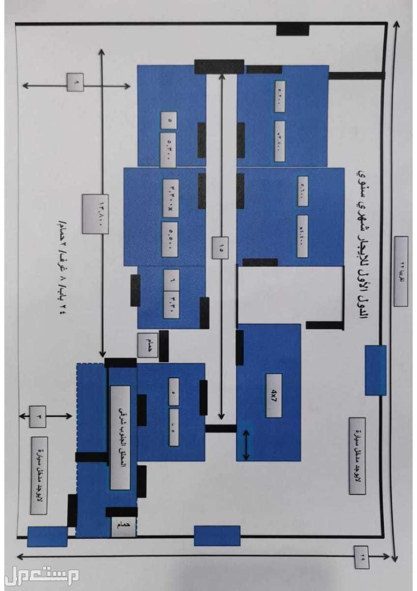 دور ارضي ودور ثاني للايجار شهري عنيزة 7 و8 غرف وملحق وحوش واسع