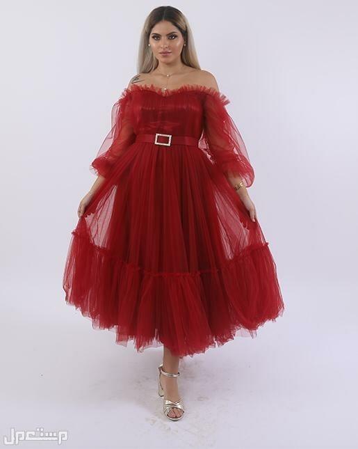 فساتين الجمال والاناقة  متوفر باللونين التيفاني والاحمر  5 مقاسات
