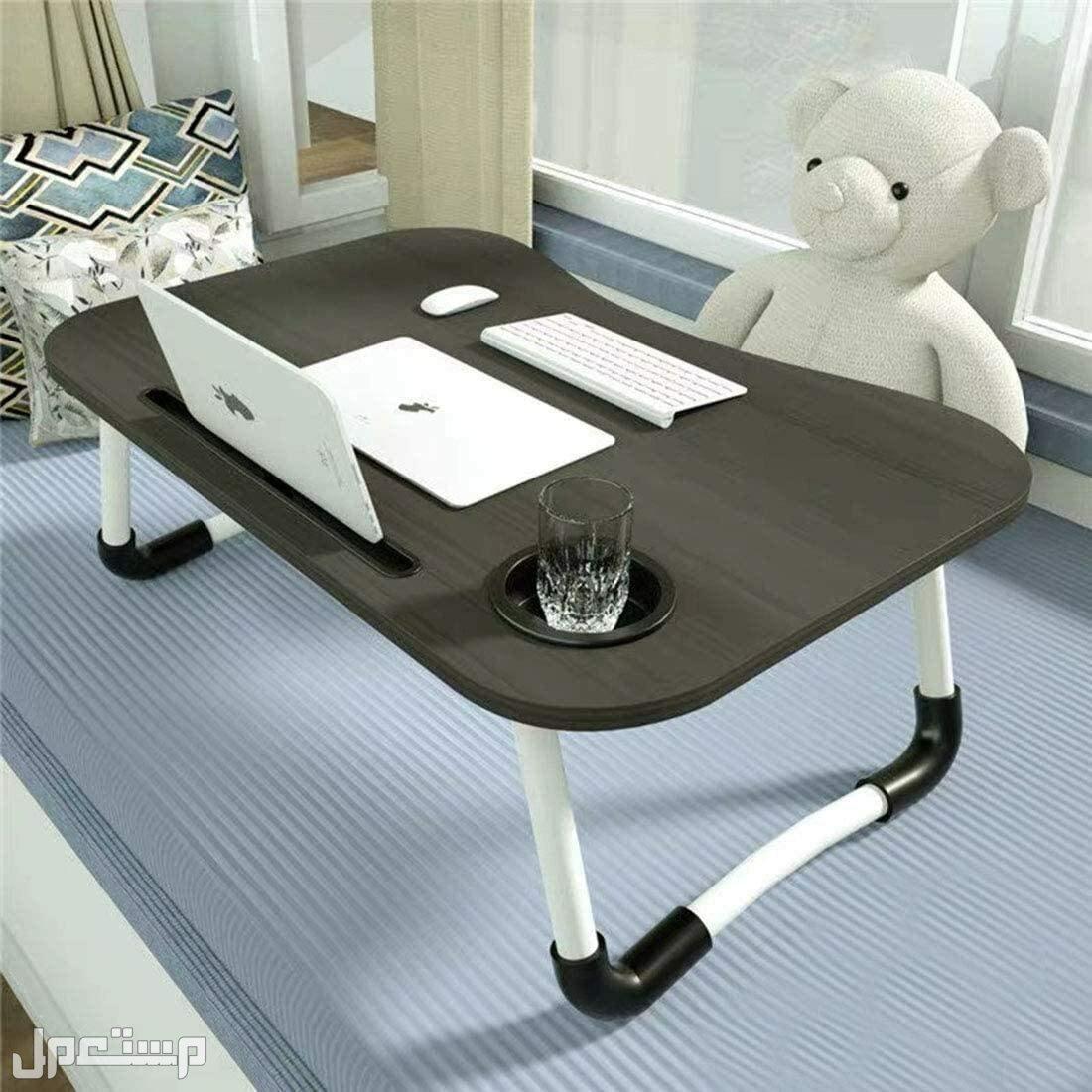 طاولة لاب توب قابلة للطي مكتب صغير مع فتحة لاسناد الايباد وحامل كوب وارجل م