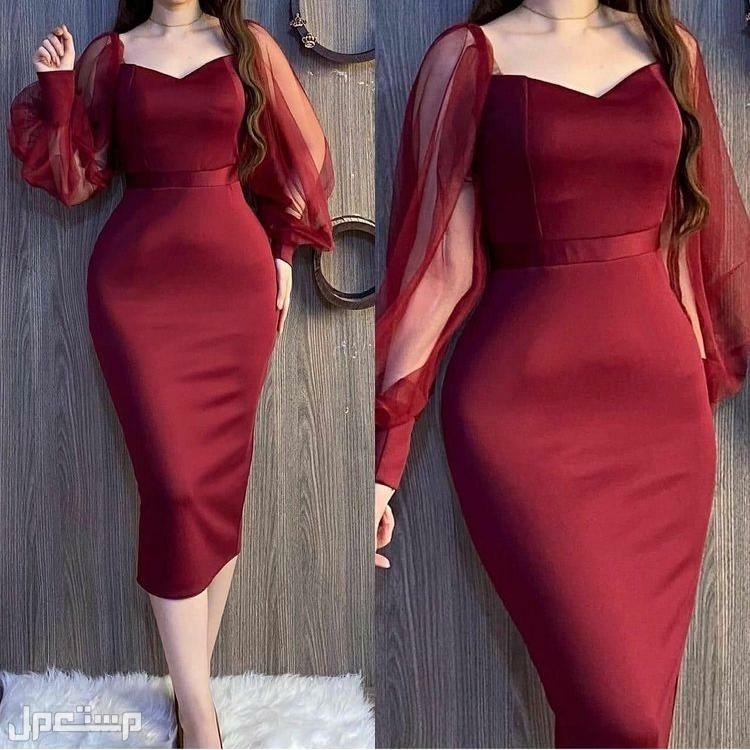 فستان الجمال والأناقة متوفر باللونين الاسود والعودي  5 مقاسات