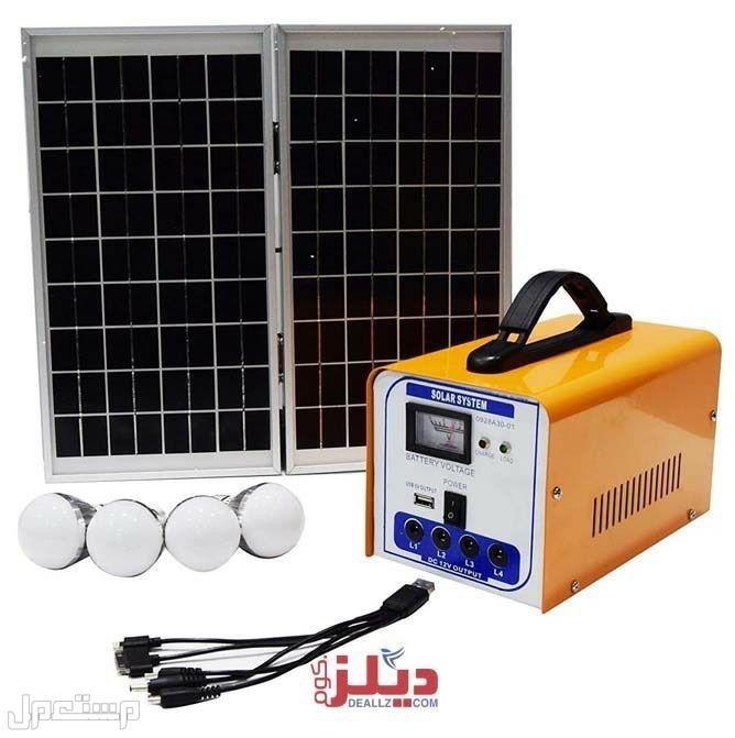 جهاز منظومة طاقه شمسية مع 4 لمبات وشواحن جوال متعددة